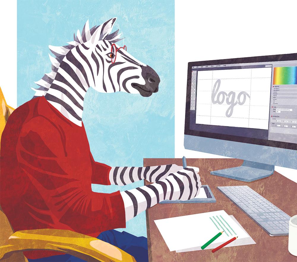 Couverture du livret illustré pour NCS Graphic Studio, un zèbre avec des lunettes sur un ordinateur Margot Huguet