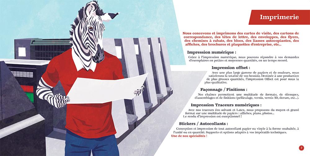Couverture du livret illustré pour NCS Graphic Studio, un zèbre avec une imprimerie offset en second plan, par Margot Huguet