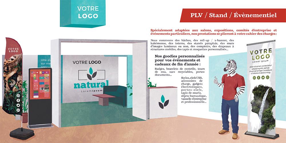 Couverture du livret illustré pour NCS Graphic Studio, un zèbre sur un stand PLV avec kakemono et totem,, par Margot Huguet