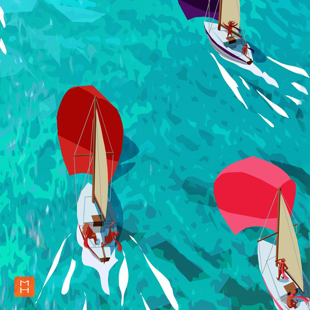 Illustration de l'affiche la fabrique du Changement par Margot Huguet vue sur trois bateaux se dirigeant vers l'archipel de la tranformation