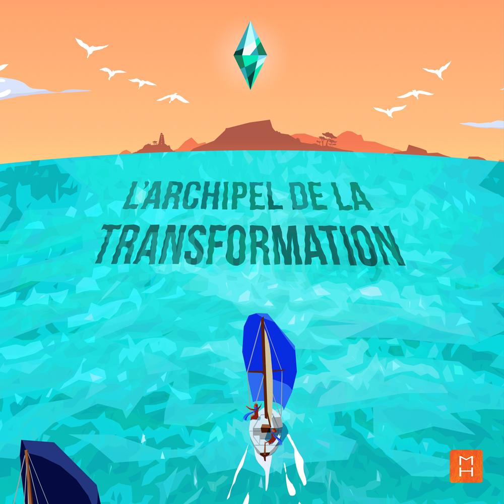 Illustration de l'affiche la fabrique du Changement par Margot Huguet vue l'archipel de la tranformation avec l'ile et le diamant qui la surplombe