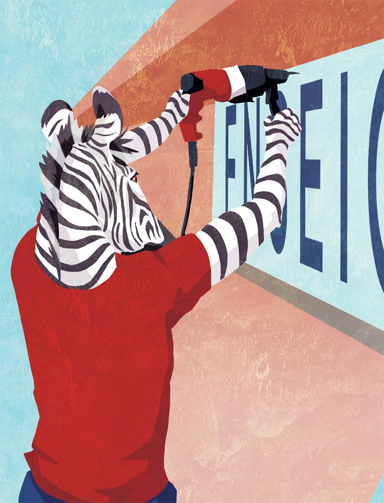 Couverture du livret illustré pour NCS Graphic Studio, un zèbre en train de poser une enseigne, par Margot Huguet