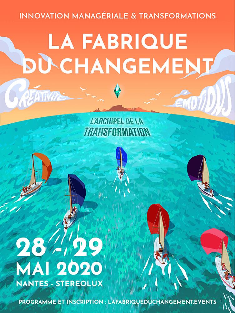 Illustration de l'affiche la fabrique du Changement par Margot Huguet complète