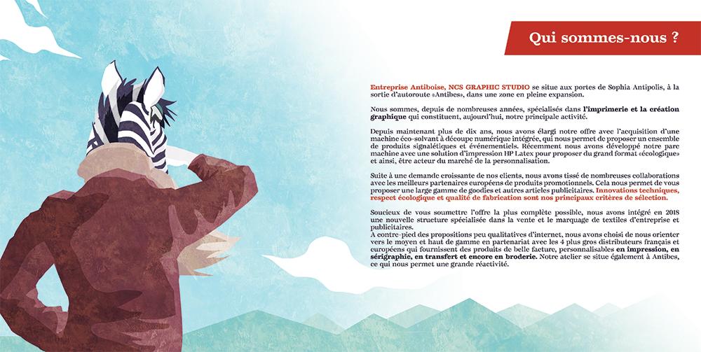 Couverture du livret illustré pour NCS Graphic Studio, un zèbre aviateur vue de dos avec le texte qui nous sommes par Margot Huguet