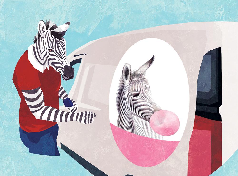 Couverture du livret illustré pour NCS Graphic Studio, un zèbre pose adhesif sur voiture illustratrice Margot Huguet