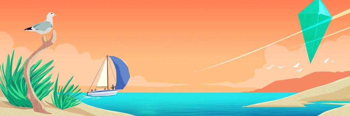 Declinaison de l'affiche de la Fabrique du Changement 2020 pour les réseaux sociaux, bateau se dirigeant vers l'ile surplombé du diamant sans texte