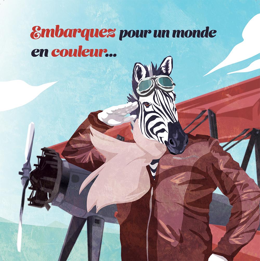 Couverture du livret illustré pour NCS Graphic Studio, une zèbre aviateur qui nous salue par Margot Huguet