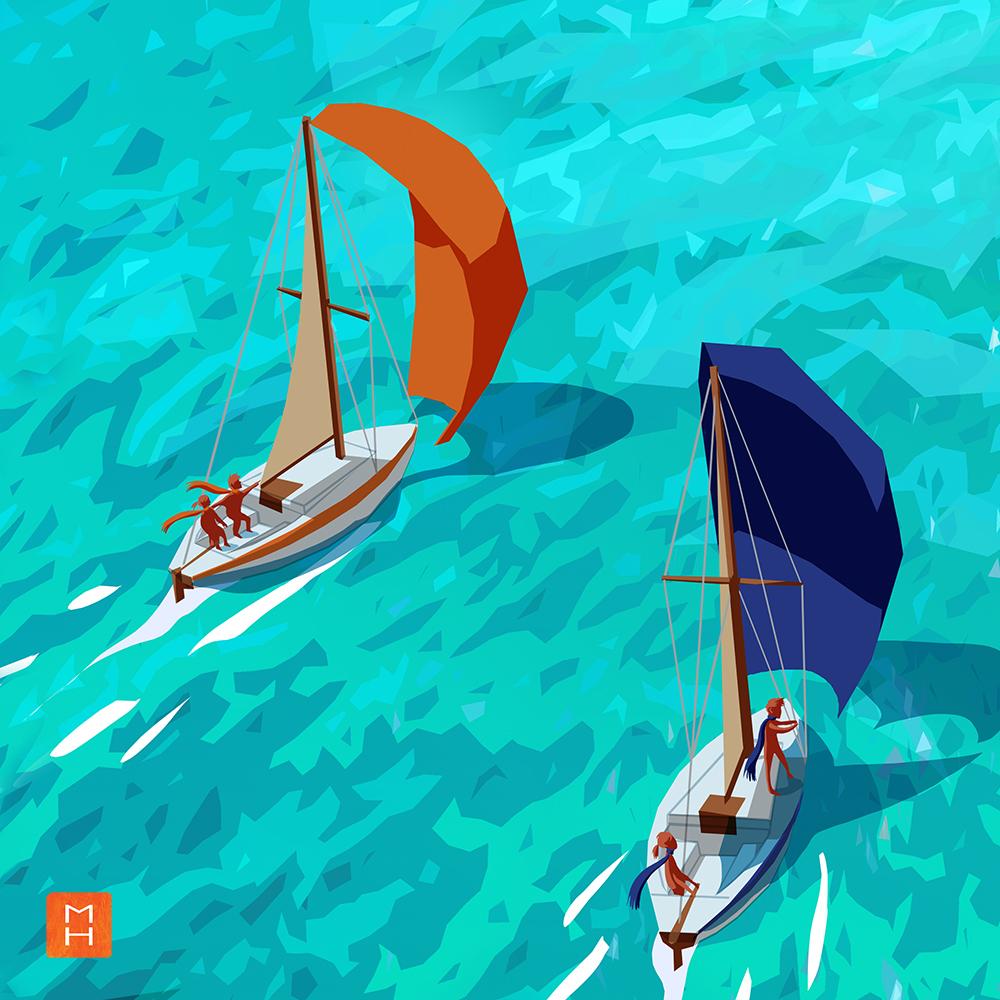 Illustration de l'affiche la fabrique du Changement par Margot Huguet vue sur deux bateaux se dirigeant vers l'archipel de la tranformation