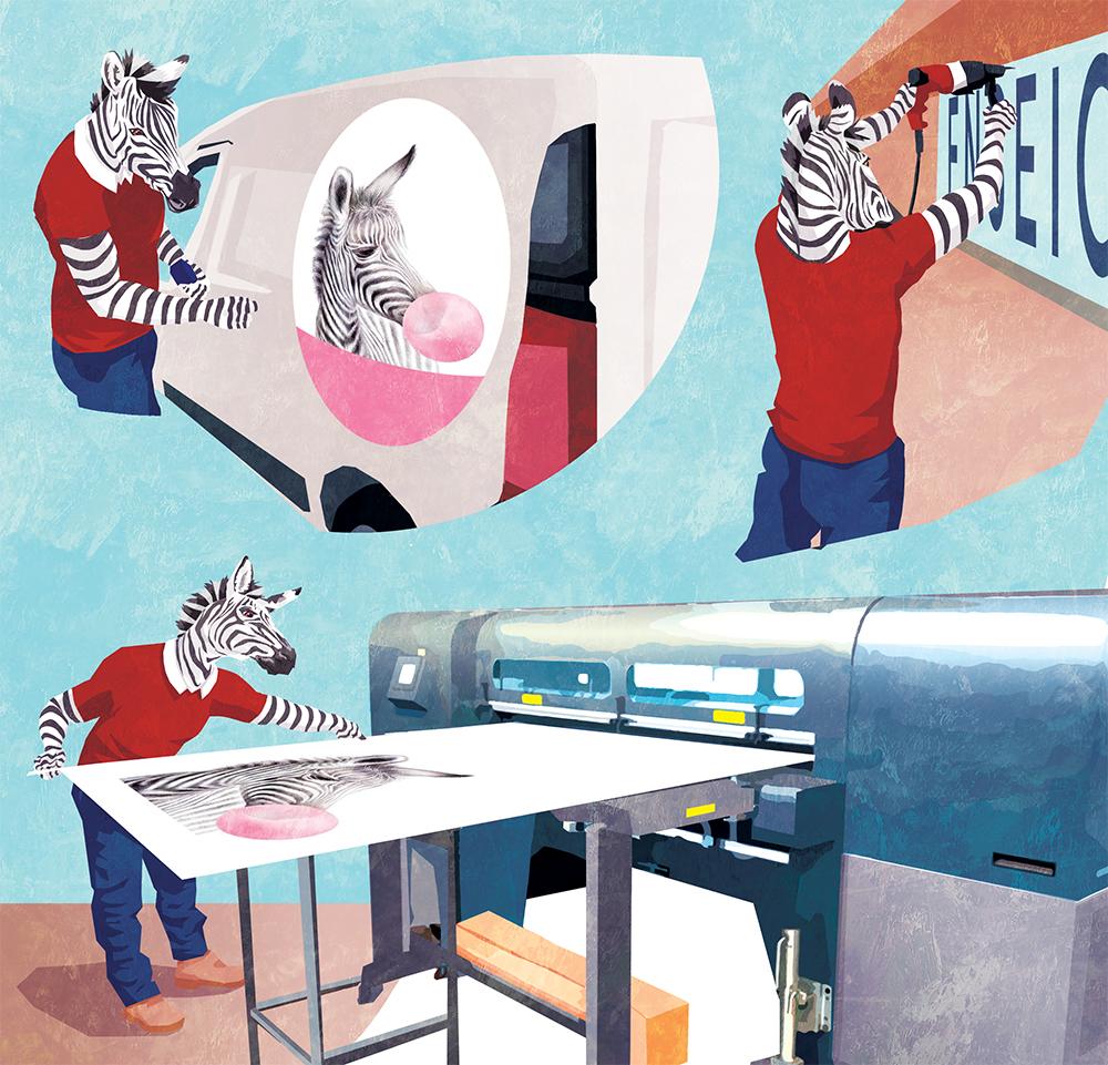 Couverture du livret illustré pour NCS Graphic Studio, trois zèbres en action d'impression illustratrice Margot Huguet